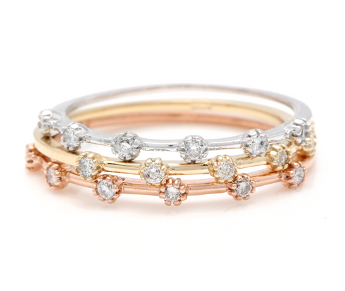 Splendid 0.30 Carats Natural Diamond Set of 3 Stackable 14K Solid Multi-Tone Gold Rings