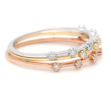 Load image into Gallery viewer, Splendid 0.30 Carats Natural Diamond Set of 3 Stackable 14K Solid Multi-Tone Gold Rings