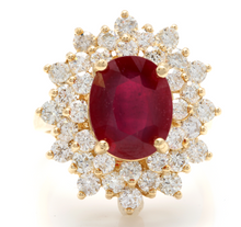 Load image into Gallery viewer, 8.40 Carats Impressive Red Ruby and Diamond 14K Yellow Gold Ring