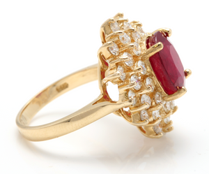 8.40 Carats Impressive Red Ruby and Diamond 14K Yellow Gold Ring