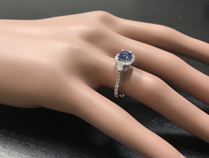 1.60 Carats Natural Very Nice Looking Tanzanite and Diamond 14K Solid White Gold Ring
