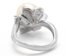 Load image into Gallery viewer, Splendid Natural South Sea Pearl and Diamond 14K Solid White Gold Ring