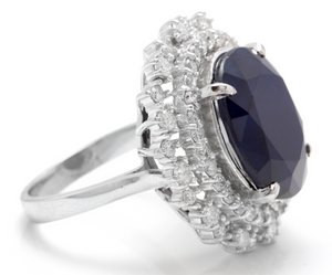 13.50 Carats Exquisite Natural Blue Sapphire and Diamond 14K Solid White Gold Ring