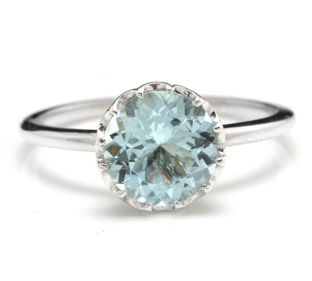 2.00 Carats Exquisite Natural Aquamarine 14K Solid White Gold Ring