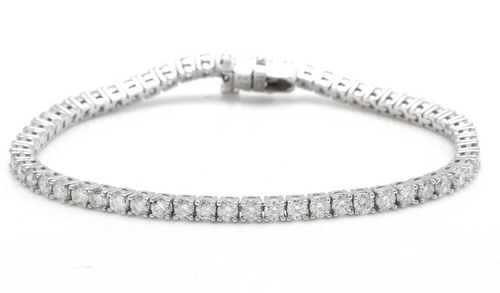 Very Impressive 4.70 Carats Natural Diamond 14K Solid White Gold Bracelet