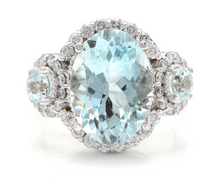 Load image into Gallery viewer, 7.80 Carats Exquisite Natural Aquamarine and Diamond 14K Solid White Gold Ring