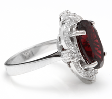 Load image into Gallery viewer, 7.55 Carats Impressive Natural Red Garnet and Natural Diamond 14K White Gold Ring