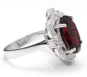7.55 Carats Impressive Natural Red Garnet and Natural Diamond 14K White Gold Ring