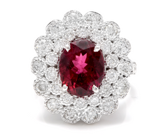 Load image into Gallery viewer, 4.25 Carats Natural Very Nice Looking Tourmaline and Diamond 14K Solid White Gold Ring