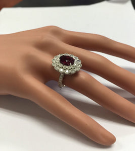 4.25 Carats Natural Very Nice Looking Tourmaline and Diamond 14K Solid White Gold Ring