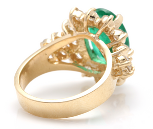 5.70 Carats Natural Emerald and Diamond 14K Solid Yellow Gold Ring