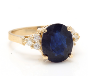 5.75 Carats Exquisite Natural Blue Sapphire and Diamond 14K Solid Yellow Gold Ring