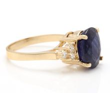 Load image into Gallery viewer, 5.75 Carats Exquisite Natural Blue Sapphire and Diamond 14K Solid Yellow Gold Ring