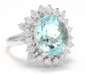 6.85 Carats Impressive Natural Aquamarine and Diamond 14K White Gold Ring