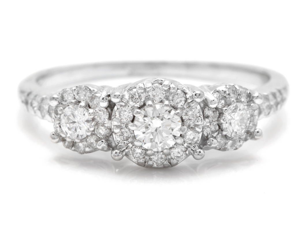Splendid 0.85 Carats Natural Diamond 14K Solid White Gold Band Ring
