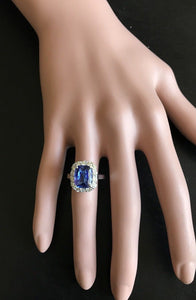 5.00 Carats Natural Very Nice Looking Tanzanite and Diamond 14K Solid White Gold Ring