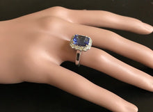 Load image into Gallery viewer, 5.00 Carats Natural Very Nice Looking Tanzanite and Diamond 14K Solid White Gold Ring