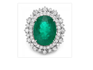 9.10 Carats Natural Emerald and Diamond 14K Solid White Gold Ring