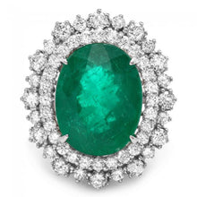 Load image into Gallery viewer, 9.10 Carats Natural Emerald and Diamond 14K Solid White Gold Ring