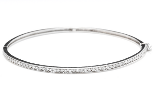Very Impressive 0.75 Carats Natural Diamond 14K Solid White Gold Bangle Bracelet