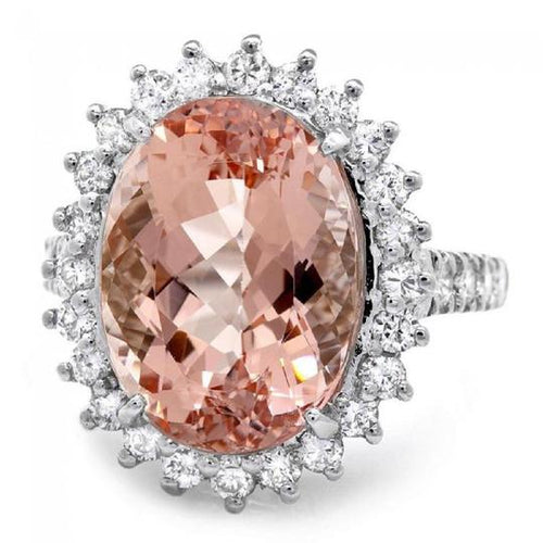 9.20 Carats Impressive Natural Morganite and Diamond 14K Solid White Gold Ring