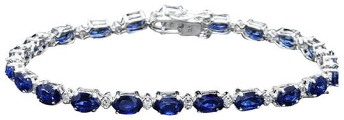 Very Impressive 13.50 Carats Natural Sapphire & Diamond 14K Solid White Gold Bracelet