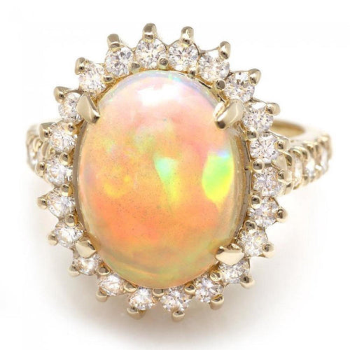 6.05 Carats Natural Impressive Ethiopian Opal and Diamond 14K Solid Yellow Gold Ring