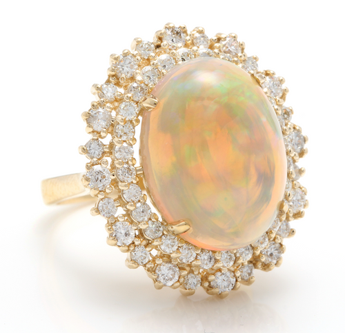 8.50 Carats Natural Impressive Ethiopian Opal and Diamond 14K Solid Yellow Gold Ring