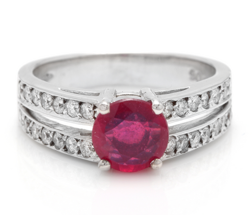 1.60 Carats Impressive Red Ruby and Natural Diamond 14K White Gold Ring