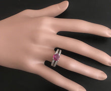 Load image into Gallery viewer, 1.60 Carats Impressive Red Ruby and Natural Diamond 14K White Gold Ring