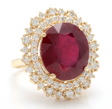 Load image into Gallery viewer, 17.60 Carats Impressive Red Ruby and Diamond 14K Yellow Gold Ring