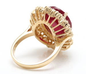 17.60 Carats Impressive Red Ruby and Diamond 14K Yellow Gold Ring