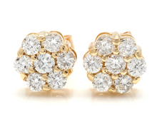 Load image into Gallery viewer, Exquisite 0.90 Carats Natural Diamond 14K Solid Yellow Gold Stud Earrings