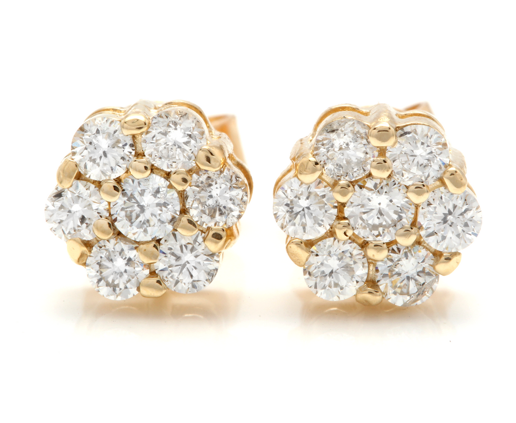 Exquisite 0.90 Carats Natural Diamond 14K Solid Yellow Gold Stud Earrings
