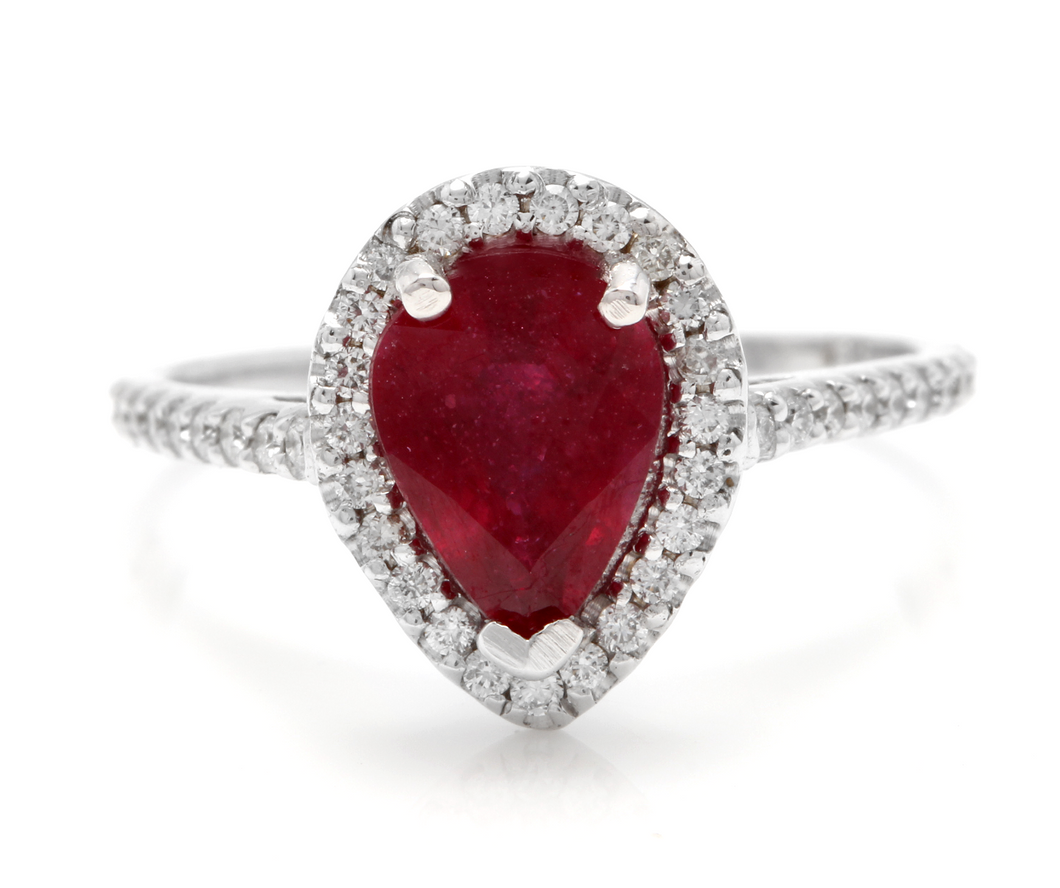 1.80 Carats Impressive Red Ruby and Natural Diamond 14K White Gold Ring