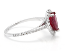 Load image into Gallery viewer, 1.80 Carats Impressive Red Ruby and Natural Diamond 14K White Gold Ring