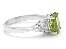 Load image into Gallery viewer, 2.70 Carats Natural Very Nice Looking Peridot and Diamond 14K Solid White Gold Ring