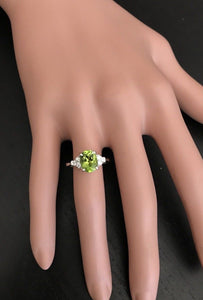 2.70 Carats Natural Very Nice Looking Peridot and Diamond 14K Solid White Gold Ring