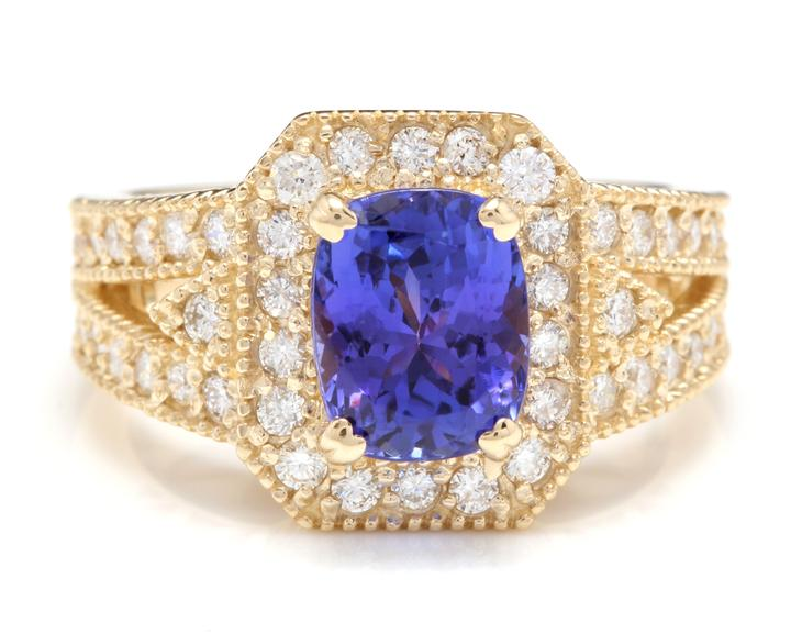 3.60 Carats Natural Very Nice Looking Tanzanite and Diamond 14K Solid Yellow Gold Ring