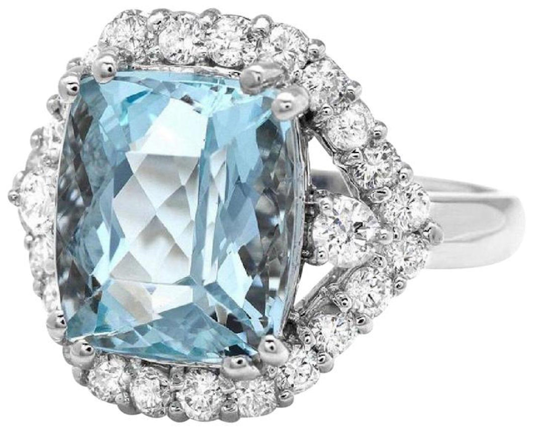 5.90 Carats Natural Aquamarine and Diamond 14K Solid White Gold Ring