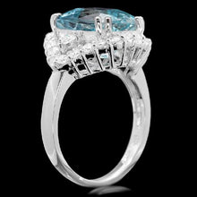 Load image into Gallery viewer, 5.90 Carats Natural Aquamarine and Diamond 14K Solid White Gold Ring