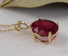 Load image into Gallery viewer, 6.70Ct Natural Red Ruby and Diamond 14K Solid Yellow Gold Necklace