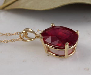6.70Ct Natural Red Ruby and Diamond 14K Solid Yellow Gold Necklace