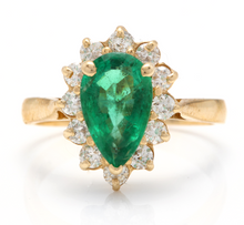 Load image into Gallery viewer, 3.05 Carats Natural Emerald and Diamond 14K Solid Yellow Gold Ring