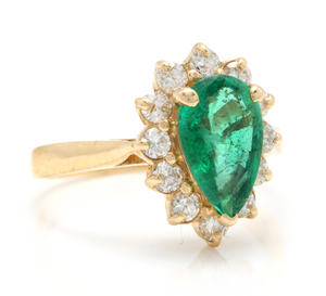 3.05 Carats Natural Emerald and Diamond 14K Solid Yellow Gold Ring