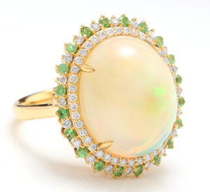 8.55 Carats Natural Impressive Ethiopian Opal, Tsavorite and Diamond 14K Solid Yellow Gold Ring