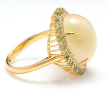 Load image into Gallery viewer, 8.55 Carats Natural Impressive Ethiopian Opal, Tsavorite and Diamond 14K Solid Yellow Gold Ring