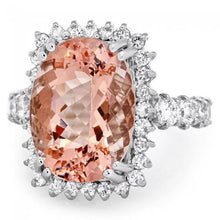 Load image into Gallery viewer, 10.50 Carats Impressive Natural Morganite and Diamond 14K Solid White Gold Ring