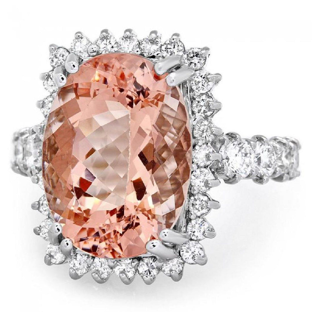 10.50 Carats Impressive Natural Morganite and Diamond 14K Solid White Gold Ring