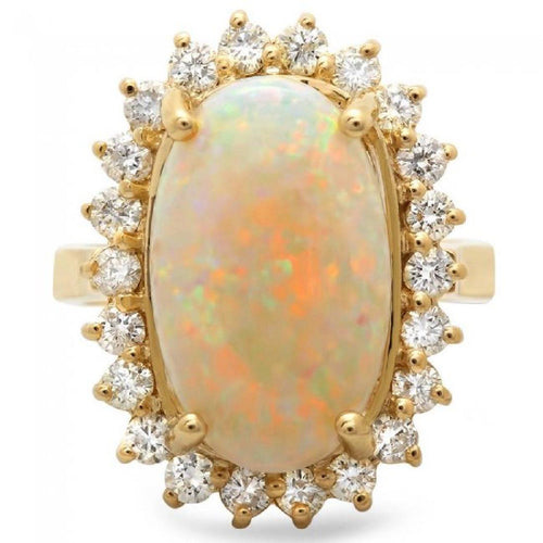 7.00 Carats Natural Impressive Australian Opal and Diamond 14K Solid Yellow Gold Ring